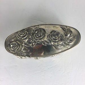 Godinger Silver Embossed Roses Jewerly Trinket Box